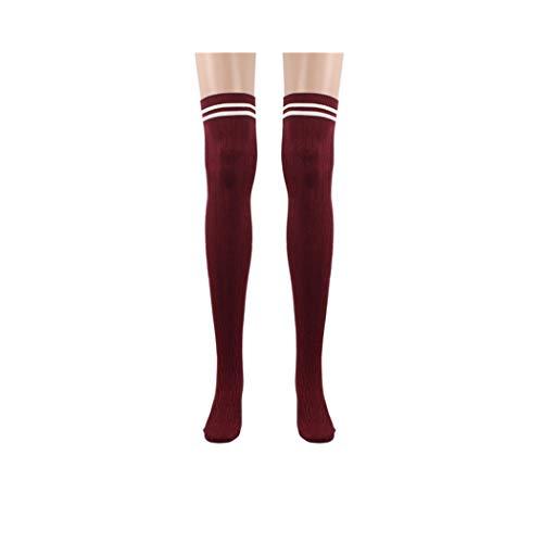 Goosuny 1 Paar Damen Kniestrümpfe College Streifen Overknee Socken Strümpfe Einfarbig Lange Strümpfe Cheerleader Sportsocken Baumwollstrümpfe Für Mädchen Frauen Minirock(Rot)