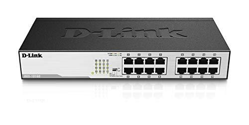 D-Link DGS-1016D Gigabit Switch (16 Ports, 10/100/1000 Mbit/s, einfache Plug & Play-Installation, lüfterlos)