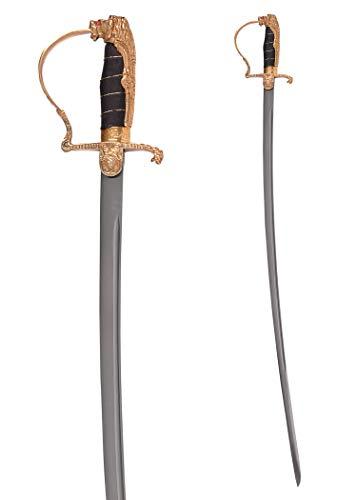 Battle-Merchant Deutscher Löwenkopf-Paradesäbel mit Stahlscheide - handgeschmiedet - Säbel echt Metall für Erwachsene WWI WWII Offizier Offizierssäbel Schwert