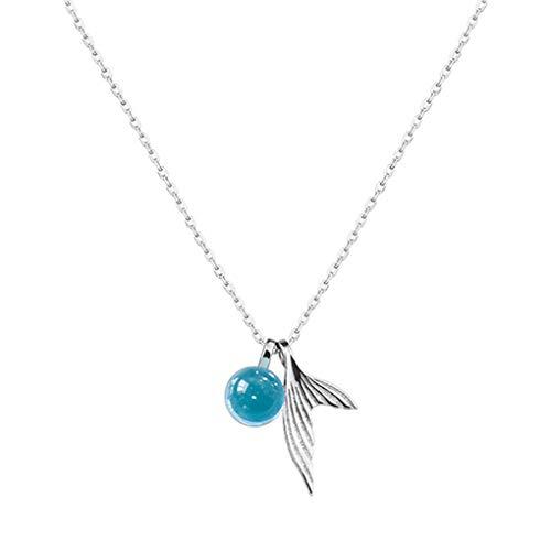 Demino Frauen-justierbare Fish Tail Halskette Dame Girl-Korn-Hals-Anhänger S925 Silber Halskette S925 Silber Halsanhänger Schmuck Souvenirs 2