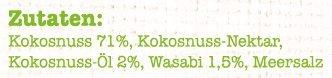 Heimatgut Kokosnusschips Wasabi ( 6 x 40g ) 3-fach gebackene Chips aus Kokosnuss. Veganer und glutenfreier Snack mit echtem lecker scharfem Wasabi. - 3