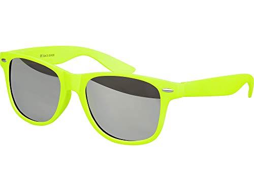 Balinco Hochwertige Nerd Sonnenbrille Rubber im Wayfarer Stil Retro Vintage Unisex Brille mit Federscharnier - 96 verschiedene Farben/Modelle wählbar (Neongelb - Silber verspiegelt)