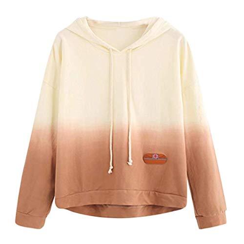 Qmber Damen Shirts Tees Tops Oberteile Oversize Pullover Sweatshirts Pulli Hoodie Elegant Hemden Langarm Blusen Tuniken, Gedrucktes Patchwork(XL,Gelb1