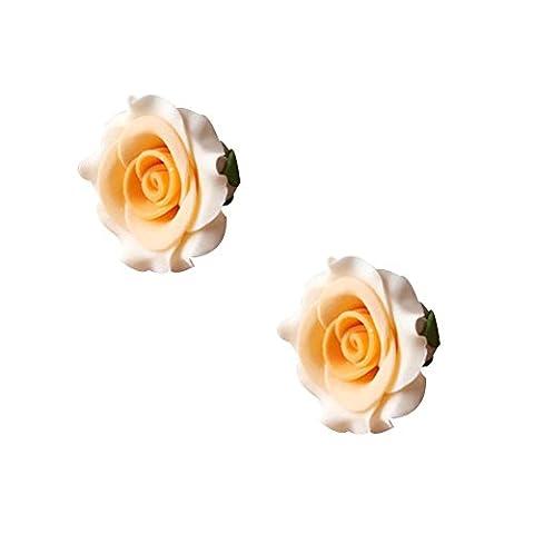 Rose Orange,2Pcs Bricolage Décoration De Gâteau/Turntable Spatule,Made By Sucre