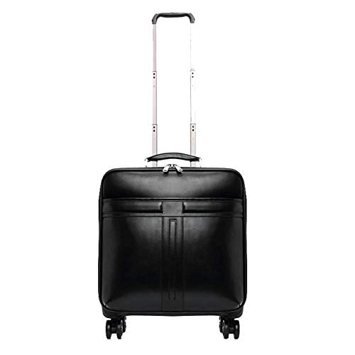 SNUA Business Leder Boarding Case, Trolley, Universal Rad Koffer, Männer und Frauen Koffer 16 Zoll schwarz