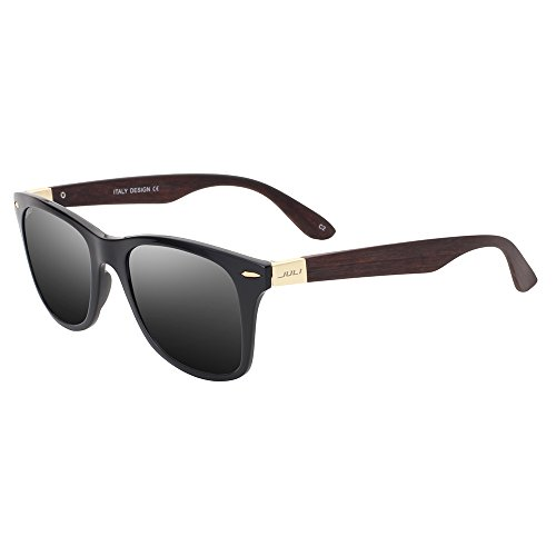 JULI® Mens Womens Mode Wayfarer Holz Bambus gedruckt wickeln Sie 54MM Sonnenbrille 4195WN