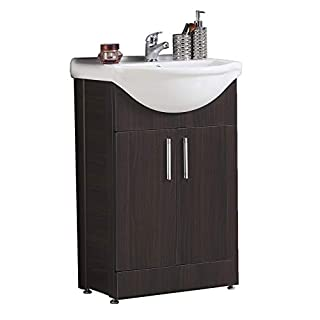 Aica Bathroom Vanity Unit with Basin Bathroom Free Standing Undersink Storage Cabinet Furniture 600mm Walnut