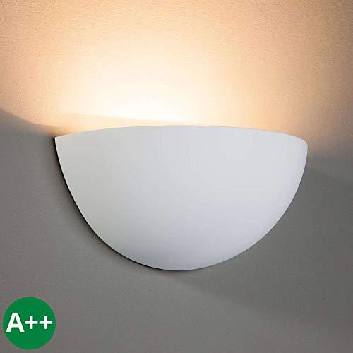 Lampenwelt Wandleuchte, Wandlampe Innen 'Pascali' dimmbar (Modern) in Weiß aus Gips/Ton u.a. für Wohnzimmer & Esszimmer (1 flammig, E14, A++) - Wandfluter, Wandstrahler, Wandbeleuchtung Schlafzimmer / -