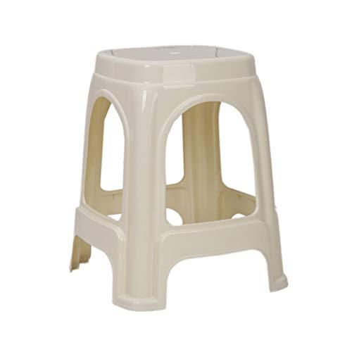 Household Schreibtischhocker, Kunststoff verdicken Stapelhocker Empfangshocker Bürohocker Rest Hocker Außenhocker Picknickbank Grillhocker Footstool (Color : White)