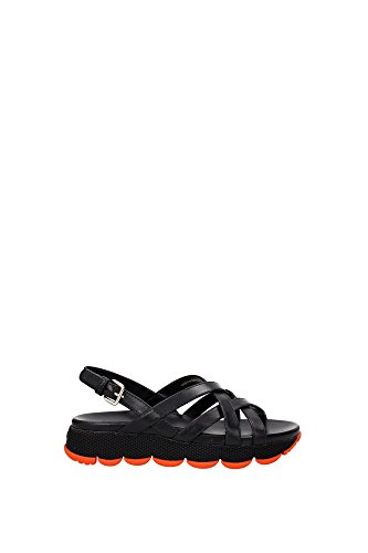 3X6170NEROZUCCA Prada Sandale Femme Cuir Noir Noir
