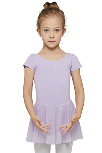 Mdnmd Skirted Leotard Short Sleeve For Girls (Age 2t-4t, Purple)