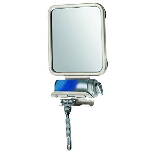 mDesign Espejo con ventosas y centro de afeitado, para el cubículo de ducha, provisto de estante para potes de crema y maquinitas de afeitar; para el cuarto de baño - Satinado