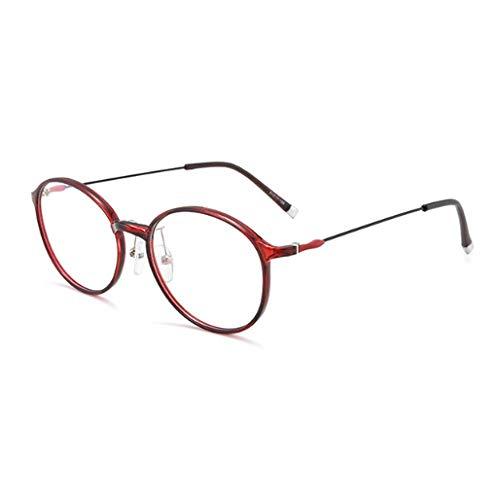 JRP Lesebrille,Ultraleicht Runder Rahmen Anti-Blaulicht Anti-Uv Alter Mann Brille Mode Hd Harz Müdigkeitsprävention Brille Unisex Exquisit/rot / +2.0