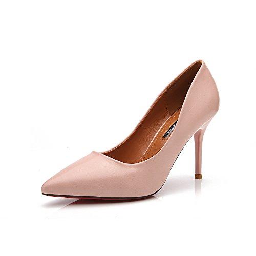 Nella luce del bene con la alta scarpe tacco versione coreana di yuan punta fine con alta scarpe tacco Scarpe unico ol femmina Pink