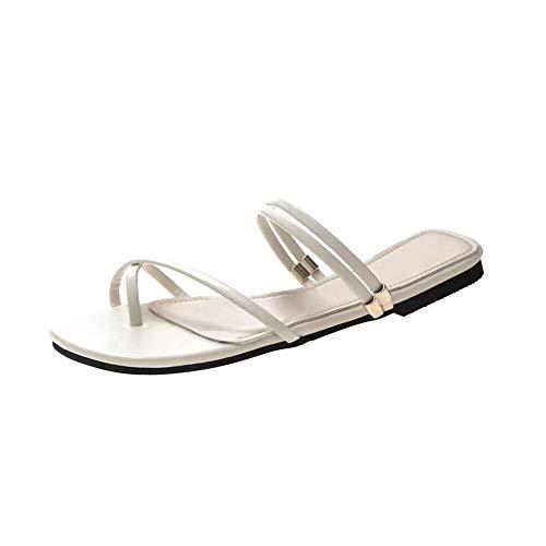 Nicetruc Clip Frauen Toe Sandalen Beige PU-Leder-Doppel Wear Flip Flops Thongs Wohnung Strand-Schuhe (Doppel-thong)
