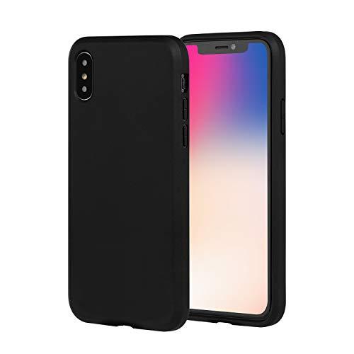 Brand.it Black Series passend für iPhone X & Xs universal Hülle TPU Silikon Schutzhülle Case schwarz matt mit Bildschirm Schutz kompatibel mit Wireless Charging