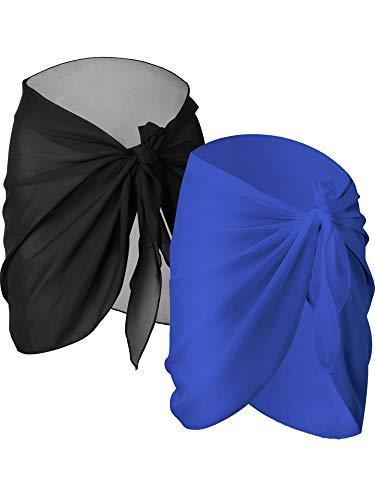 Chuangdi 2 Stücke Damen Strand Wickeln Sarong Aufdecken Chiffon Badeanzug Wickelröcke, Schwarz und Weiß (Schwarz und Blau, kurz)