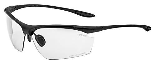 R&R Multi-Sportbrille Peak | Sonnenbrille | Radbrille | Laufbrille | Golfbrille | Tennisbrille (schwarz, Tönungsgrad 0-3)