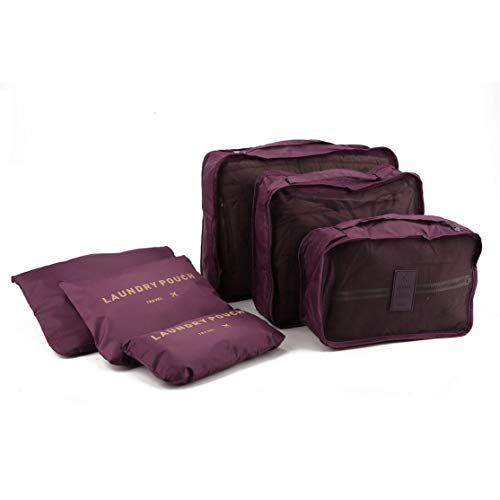 Korean Style Portable Durable Eco-Friendly 6 Pcs/Set Square Travel Home Luggage Storage Bags Clothes Organizer Pouch Case Kaemma(Color:wine red)
