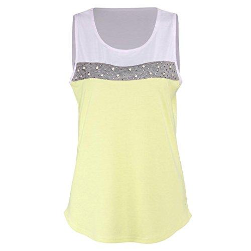OSYARD Damen Mädchen Rundhalsshirt Sommer Lässiges Weste Patchwork Shirt Ärmelloses Tank Crop Shirt Bluse Strandtops