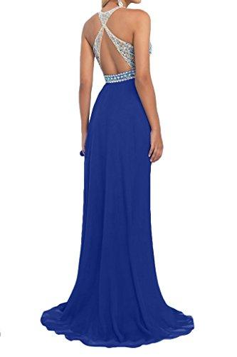 Prom Style Damen Prinzessin Traeger Abendkleider Ballkleider Cocktailkleider A-Linie Lang Chiffon Partykleider Royalblau