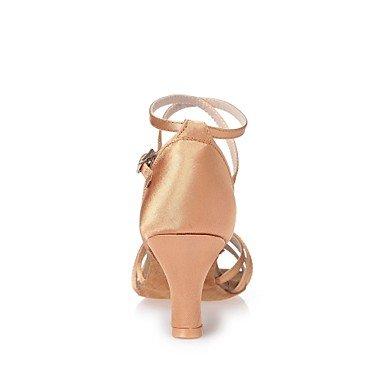 Scarpe da ballo-Non personalizzabile-Da donna-Balli latino-americani-Quadrato-Raso-Carne nude
