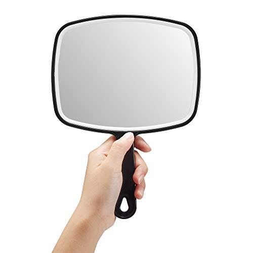 Espejo de mano, grande, color negro, de mano, con mango, cuadrado