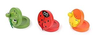 Small Foot 10694Castanet Animales de Madera Colorido en Tres diseños, Ideal para Manos de los niños, fomenta la Habilidad