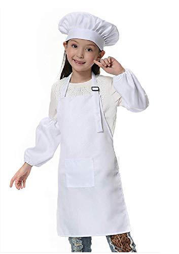 Inception pro infinite (Weiß) Einheitsgröße - Kostüm Uniform Chefkoch Kinder Hut Schürze Ärmel Verkleidung Karneval Halloween Cosplay Zubehör Unisex Kind Mädchen