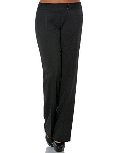 Damen Business Hose Stoffhose Straight Leg (Gerades Bein) No 15709, Farbe:Schwarz, Größe:L / 40
