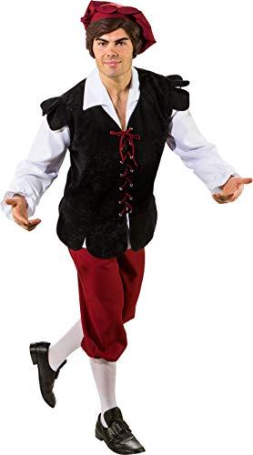 Kostüm Landsknecht - O7054-50-52 schwarz-rot Herren Mittelalter Bauer Knecht Kostüm Gr.50-52