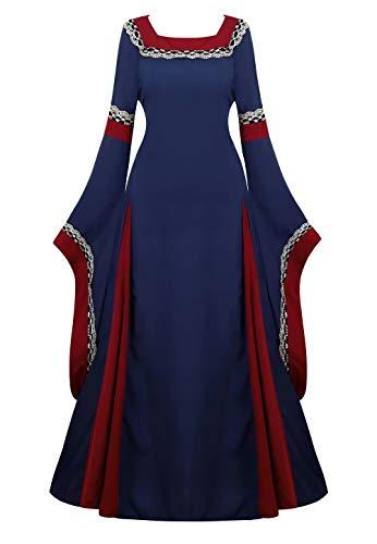 aizen Mittelalter Kleid mit Trompetenärmel Party Kostüm bodenlang Vintage Retro Renaissance Costume Cosplay Damen Dunkelblau 2XL