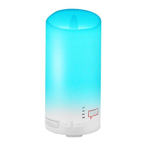 Tenswall Humidificador Aromaterapia Ultrasónico de 100ml, difusor de aroma/aceite esencial de Vapor frío, Luces LED de 7 colores,para Hogar, Oficina,Dormitorio,sala,sala de estar etc.