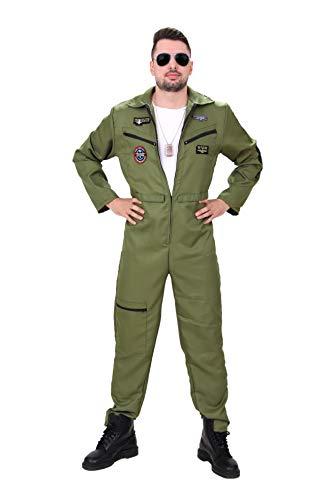 Herren Pilotenkostüm mit Gratis Pilotenbrille! Kostüm, Pilot, Top, Männer, Karneval, Gun, Fliegerkostüm, Fasching, Anzug Kampfjet (Top Piloten-kostüm Gun)