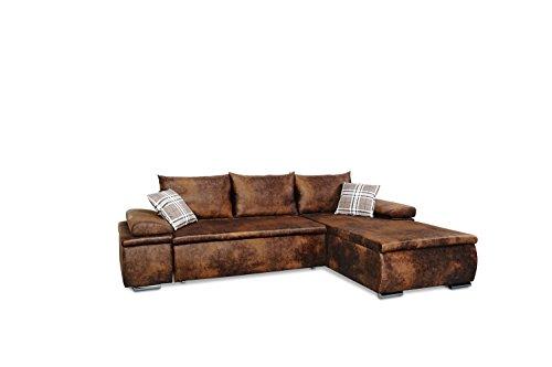 Mein Sofa CLVint Vintage Eckgarnitur Cali mit Schlaffunktion und Bettkasten, circa 274 x 85 x 180 cm - Sitzhöhe circa 42 cm, Kunstleder, Recamiere rechts oder links verwendbar - 2