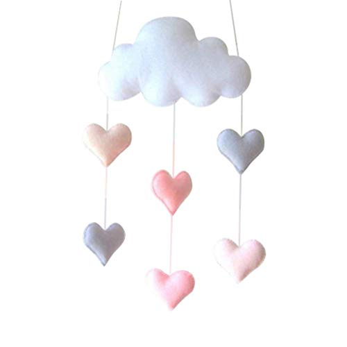 Chenqi Decke Mobile Cloud Dekorationen Herz Baby Room Decor Kinderzimmer Dekoration Wolke Sterne Herzen Wandbehang Dekoration Spiel Dekoration