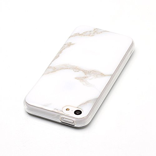 Coque iPhone 5S, LuckyW Housse Etui TPU Silicone Clear Clair Transparente Gel Slim Marbre Case pour Apple iPhone 5 5S SE Soft de Protection Cas Bumper Cover Converture Anti Poussières Couvercle Anti R Blanc