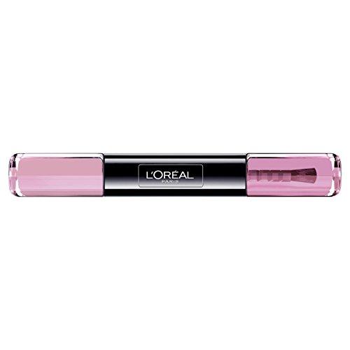 L\'Oréal Paris Infaillible Nagellack Rosa / 2 in 1 Top Coat und Unterlack in sanftem Bonbon Pink / 005 Irresistable Bonbon / 1 x 10 ml