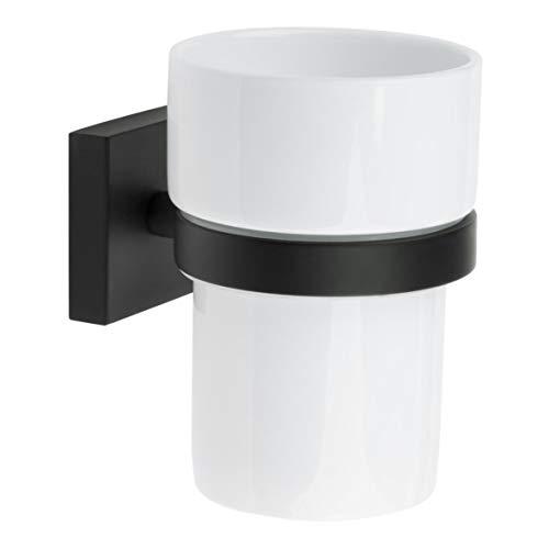 SMEDBO HOUSE Zahnputzbecher-Halter Zahnputzglas Wand-Halter Set schwarz Porzellan RB343P