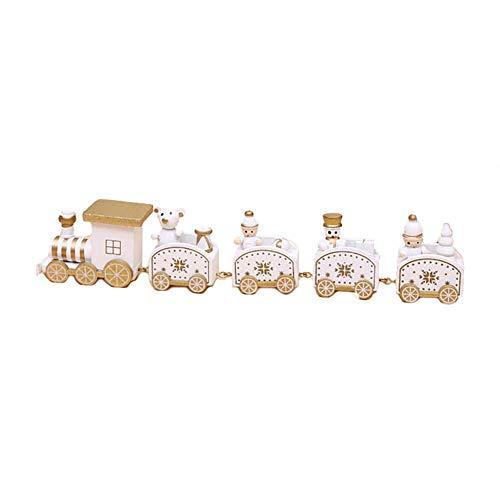 Rocita Artisanat Mini Train de Noël en Bois ornemente Décor de Train en Bois Mini Accessoires de Jardin Décoration Cadeaux pour Les Enfants -Blanc
