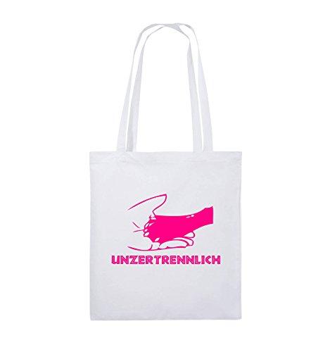 Comedy Bags - UNZERTRENNLICH - HAND PFOTE Hundeliebe - Jutebeutel - lange Henkel - 38x42cm - Farbe: Schwarz / Silber Weiss / Pink