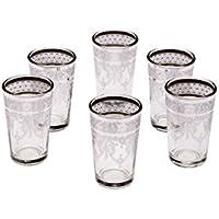 Copas de té decoradas orientales Set 6 copas Marrakesch Blanco claro - Cristales de té marroquí 6 colores decoración oriental - 6 x vasos de té de Marruecos Oriental decorado - diferentes modelos