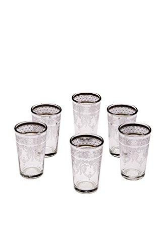 Lot de 6 verres à thé café coloré marocain Marrakesch triés en six blanc | verre de thé turc en style oriental | 6 Photophore en verre comme décoration marocaine dans votre chambre ou maison