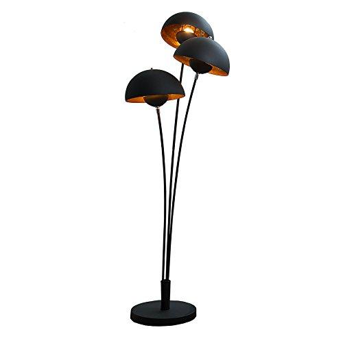 Moderne Design Stehlampe STUDIO III 170cm schwarz gold E27 Lampe Blattgold Optik Stehleuchte