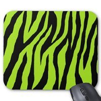 Zebra Print - Black and Lime Green Animal Pattern Decorative Mouse Pad Office Design Gaming Mouse Pad Mat - Green Zebra Animal Print