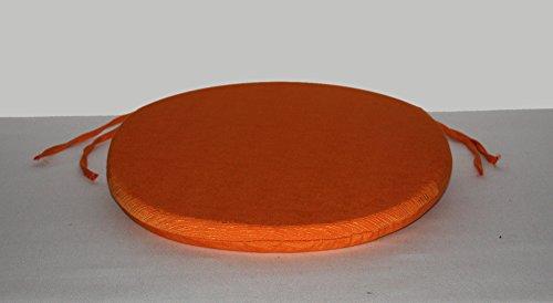 Arketicom (set 4 pz) cuscini sedie cucina rotondi sfoderabili con alette lacci laccetti cotone poliestere copri sedia tondo (cuscino casa giardino) personalizzabili cm 35x35 spessore 3 cm tessuto policotone quadrettato arancione
