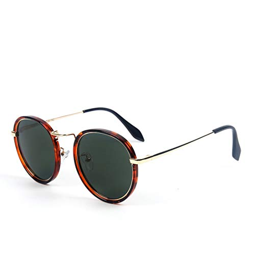 Honneury Vintage runde polarisierte Hippie-Sonnenbrille-Kleiner Kreis Sunglasses für Frauen (Farbe : Gradient Frame/Green Lens)
