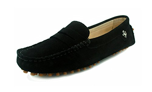 Minitoo Girls Ladies Casual Black Suede Leather Driving outdoor Boat Shoes Loafers Moccasins UK 6