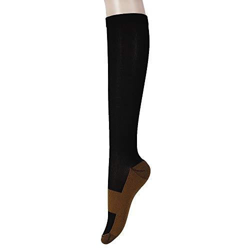 XIAOXINGXING Unisex Copper Compression Socks Frauen Männer Anti Fatigue Schmerzlinderung Kniehohe Strümpfe 15-20 Mm (Color : XXLblack) -