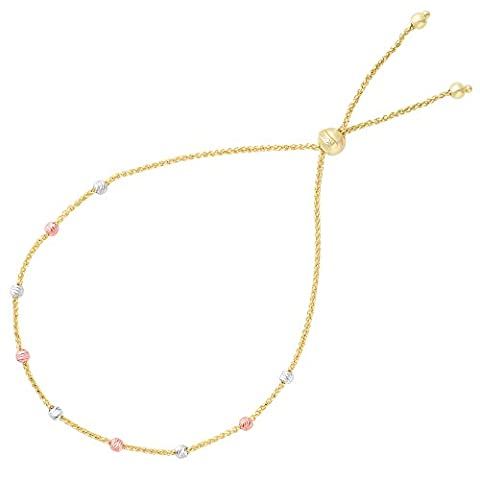 Diamantschliff Multi Color Runde Perlen Station Bolo Freundschaft Armband in 14 K Gold, 23,5 cm